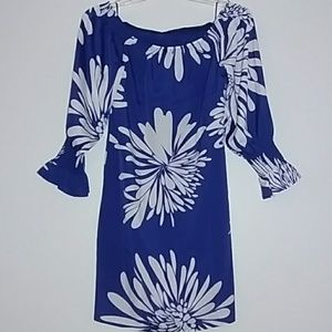 Off the shoulder blue dress